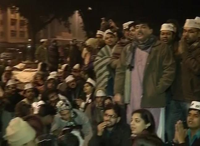 In Pics: Kejriwal's night out on the street