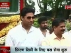 Abhishek flags off bus services for Film City workers