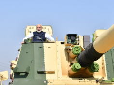 PM Modi takes K9 Vajra howtizer gun out for a spin at L&T's Surat facility