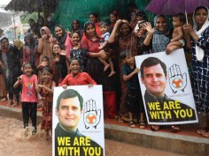 In Pics: People brave rain to welcome Rahul's 'thanksgiving' visit to Wayanad