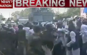 NSUI protests in front of MP CM Shivraj Singh Chouhan's house