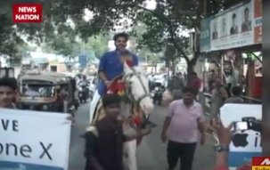 Man rides horse in Thane to purchase iPhone X