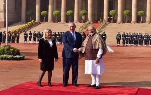 Israeli Prime Minsiter Benjamin Netanyahu gets ceremonial welcome in Rashtrapati Bhavan