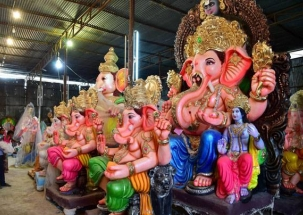 Ganesh Visarjan takes place on the fifth day in many parts of Mumbai