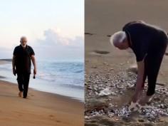 PM Modi Takes Refreshing Walk On Tamil Nadu's Mamallapuram Beach
