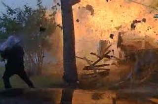 Five people injured in terrifying house explosion caught on camera