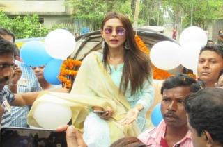 Watch: Trinamool Congress MP Mimi Chakraborty takes oath in Lok Sabha