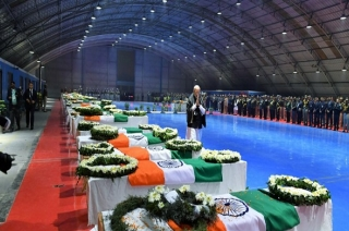 PM Narendra Modi pays tribute to CRPF jawans, walks around 40 coffins