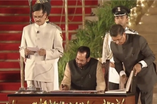 Swearing-in ceremony: Mukhtar Abbas Naqvi takes oath as Union Minister