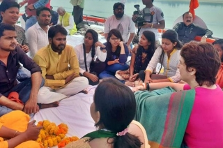 Priyanka Gandhi interacts with students during boat ride