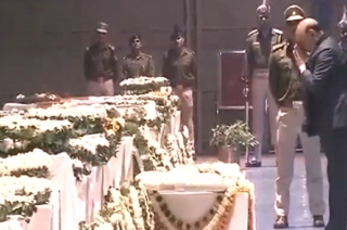 Rajnath Singh pays tribute to mortal remains of CRPF jawans