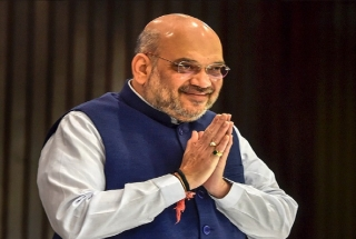Building of Home Ministry decorated to welcome Amit Shah